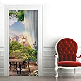 3D Pegatinas Decorativas de Puerta Jardín paisajístico Vinilos Puerta Pegatina DIY Etiqueta de Puerta Interiores Autoadhesiva Impermeable Pared Murales para Cocina 90 * 200cm