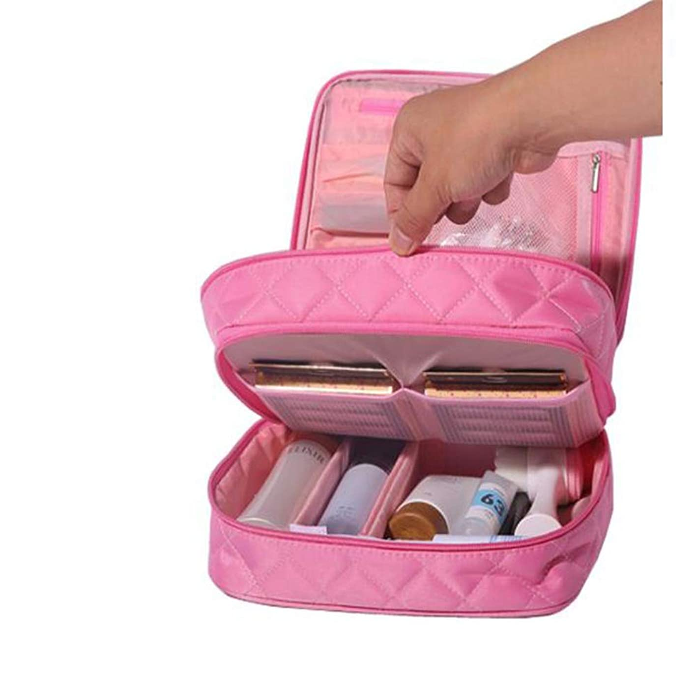 玉意味のあるバッテリー特大スペース収納ビューティーボックス 化粧品袋、携帯用旅行化粧品の箱、化粧品の箱、収納箱、調節可能なディバイダーが付いている小型化粧の電車箱、化粧品の化粧筆、化粧品 化粧品化粧台 (色 : ピンク)