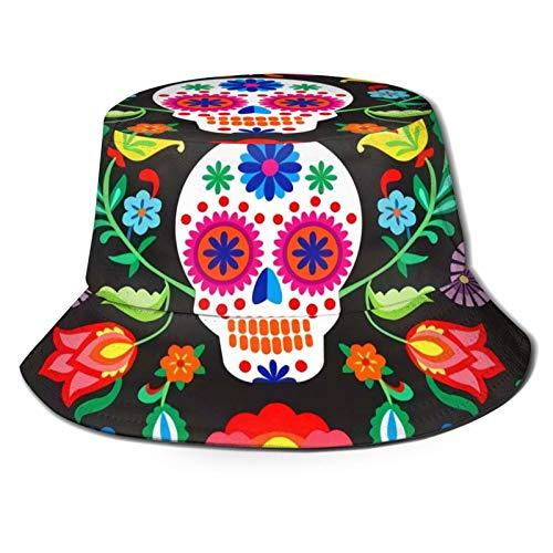 136 Happy Easter - Gorra de sol con calaveras mexicanas de azúcar para verano, viajes, playa, al aire libre, UV, unisex, sombreros de pescador
