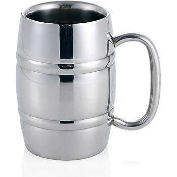 Jarra de cerveza, taza de té / cerveza / café / café con leche de acero inoxidable Isenretail, diseño de doble pared con gran capacidad de 550 ml: Amazon.es: Hogar