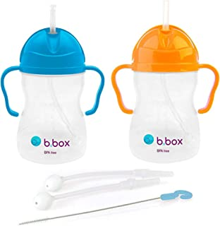 b.box b.box Innovative Weighted Straw Sippy Cup x2 & Replacement Straw Pack |Colors: Blueberry/Orange | Age: 6 Months | BPA Free, Blueberry, Orange