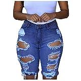 EUCoo Pantalones vaqueros para mujer, cintura alta lavada, agujeros rasgados, pantalones cortos de mezclilla casuales y elásticos