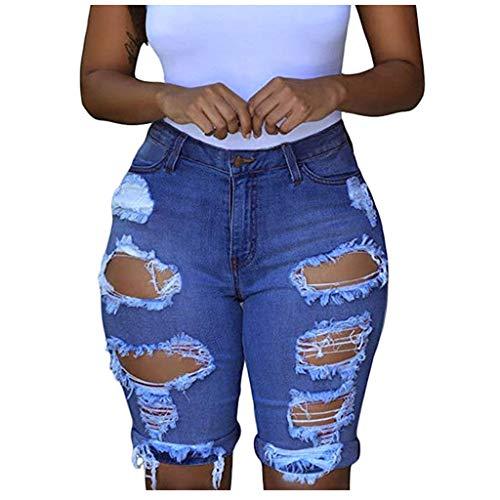 HUOJING Denim Shorts for Women High Waisted Destroyed Jeans Shorts Elastic Casual Capri Leggings,Blue,2XL