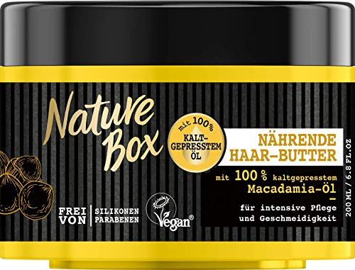 Nature Box Kur-Tiegel Macadamia-Öl Nährende Haar-Butter, 200 ml, 3er Pack (3 x 200 ml)