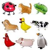 Kulannder Globos de Animales Caminando de 9 Piezas,Globos de Mascota Foil Globos de Animales Divertidos para Fiesta de Cumpleaños Decoracion y Regalo