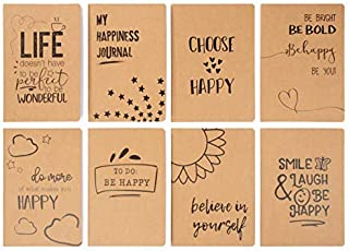 Kraft Notebook - 8-Pack Lined Notebook Journals, Pocket Journal for Travelers, Diary, Notes - 8 Assorted Happy Themed Designs, A5 Size, Soft Cover, 80 Pages, Brown, 5.8 x 8.3 Inches
