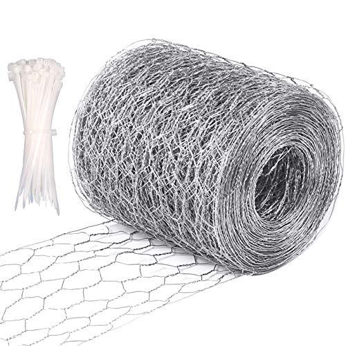 Celyoce alambre de malla de pollo de 0,1 m x 15 m, alambre hexagonal galvanizado ligero, con 100 bridas de nailon para manualidades y decoración del hogar