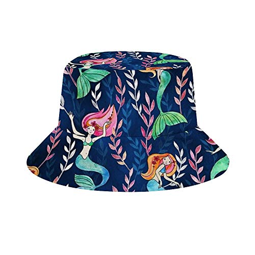 Unisex Soft 100% Polyester Wide Brim Sun Hats, Foldable Summer Cap with UPF 50+ Sun Protective Little Merry Mermaids Bucket Hat for Fishing, Beach, Hiking, Camping, Gardening, Boating