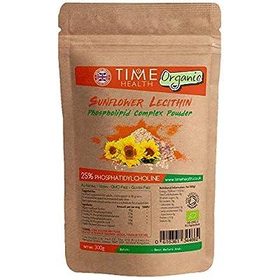 Organic Sunflower Lecithin Phospholipid Complex Powder - 25% Phosphatidylcholine - Vegan - GMP Standard (300g Powder Pouch)