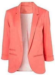 a06f398028d73f Minetom Donna Manica a 3/4 Aperto Davanti Colletto Cappotto Elegante  Ufficio Business Blazer Top