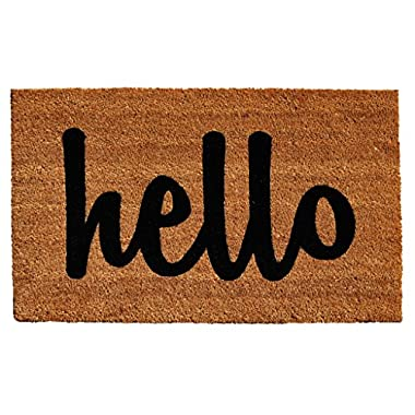 Home & More Natural/Black Script Hello Doormat, 1'5  x 2'5
