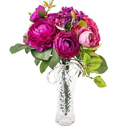 Love Bloom Ranunculos Artificiales Purpura - Flor Decoracion con Florero - Asiaticus Flor Artificial Seda para Ramilletes de Bodas, Centros de Mesa, Fiesta Jardín del Hogar, Decoración de Boda