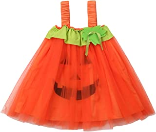Toddler Baby Kid Girl Halloween Costume Halter Pumpkin Smile Tutu Dress Halloween Party Princess Dress
