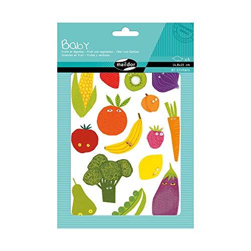 Maildor AE030O - Un sachet de gommettes Baby 6 planches 14,8 x 21 cm, Fruits et légumes (87 stickers)
