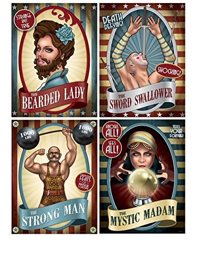 Pack of 4 Assorted Vintage Circus Poster Cutouts - Party Wall Decorations steampunk buy now online