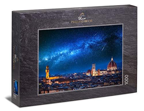 Ulmer Puzzleschmiede - Puzzle Ilustración: Puzzle de 1000 Piezas - Florencia de Noche con un fantástico Cielo Luminoso