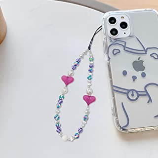 URFEDA Mobiele telefoon Lanyard,Mobiele telefoon Charms Telefoonketting met kleine onregelmatige imitatie parels polsriem ...