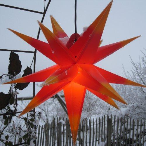 Außenstern mit LED 65 cm rot/gelb beleuchteter Stern Weihnachtsstern Faltstern, wetterfest und frostbeständig, Leuchtmittel LED (StaRt-NDL-DUH-E14-3,5W), kein störanfälliger Trafo nötig!