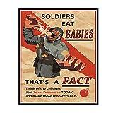 IUYTRF Haga que los niños sean seguros al enlistarse con nosotros Ww2 Poster Vintage Retro Kraft decorativo pared lienzo adhesivo -50X70 cm sin marco 1 Uds