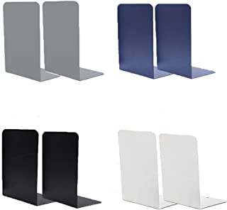 Bookends Nonskid Metal Bookends Books Holder Book Supports for Shelves Metal Decorative Book Ends for Kids Children Desktop Organizers for Home Office School Supplies (Black white gray blue - 4 Pairs)