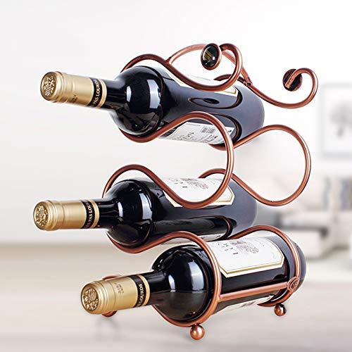 JMYSD Estante De Vino Estante De Botellas De Vino Soporte De Botella De Vino Retro Estante De Vino De Metal Hogar Estante De Vino Creativo Gabinete De Vino Decoración,A