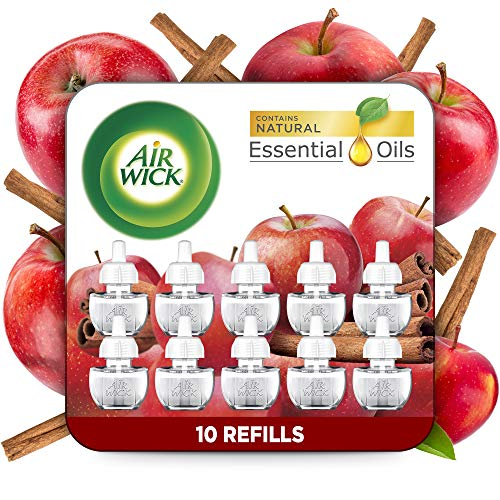 Air Wick Plug in Scented Oil 10 Refills, Apple Cinnamon, Fall Scent, Fall Spray, Eco Friendly, Essential Oils, Air Freshener