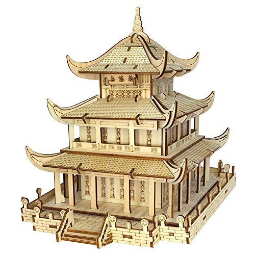 FCHJJ Puzzle 3D de Madera 3D Rompecabezas de Madera Torre yueyang Corte por láser de Alta precisión Color de Madera Natural Marcado láser Juguete de Aprendizaje puzle DIY para niños