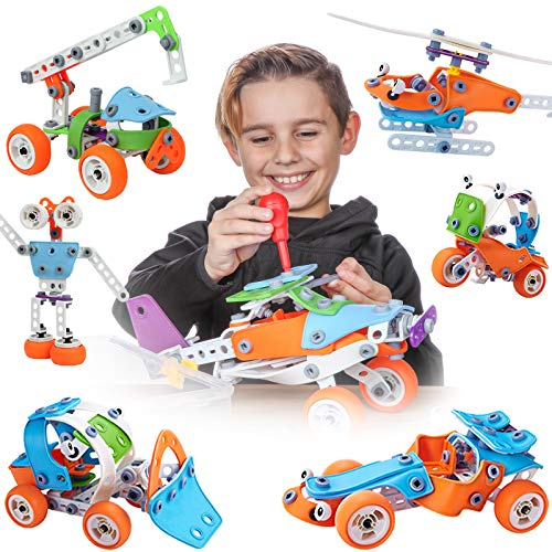 Toy Pal STEM Toys for 6-8 Year Old Boys Girls | 7 in 1 Engineering Building Set | 163 Pc Educational Construction Kit for Kids Ages 6-12 | Fun Birthday Gift