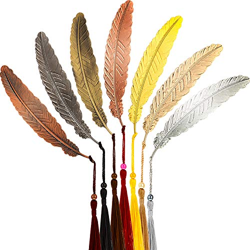 14 Pieces Metal Feather Bookmarks with Tassels Vintage Feather Shaped Bookmarks for Adults and Kids Gifts (7 Colors)