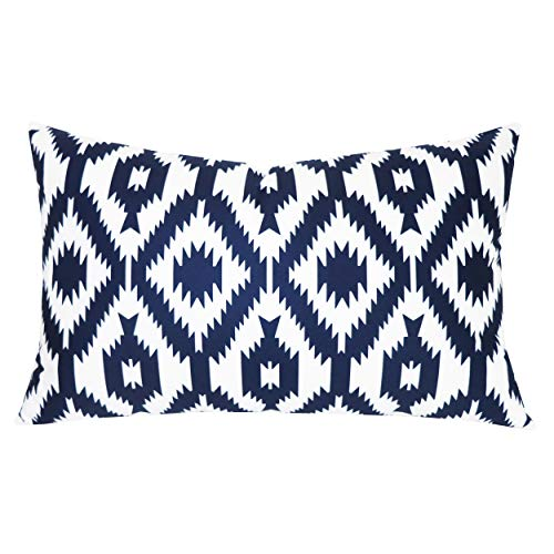 SLOW COW Velvet Lumbar Decorative Throw Pillow Cover Rectangular Design Cushion Cover for Couch Sofa Bed 12 x 20 Inches Navy Blue