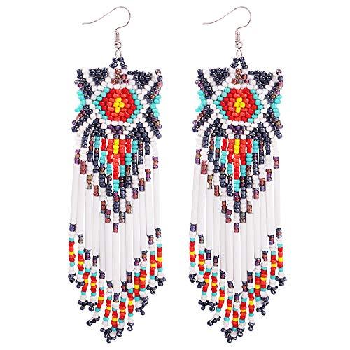 Long Beaded Earrings Dangle - Boho Sleek Fringe Earrings Statement Handmade with Hook, Gift Ideas for Women Jewelry