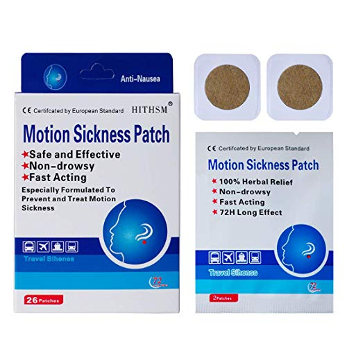 Motion Sickness Patch Anti-Nausea Relief Vomiting Nausea Dizziness Easy to Carry Suit for Car Sea Air Travel 20 Count/Box (26)
