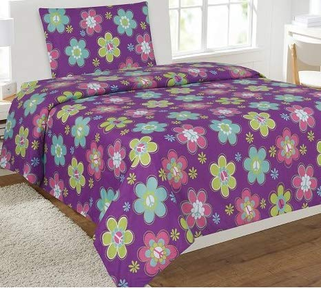 Twin 3 Pieces Printed Kids Sheets Bed Cover with Pillow Case with Modern Designs (Flower Purple)