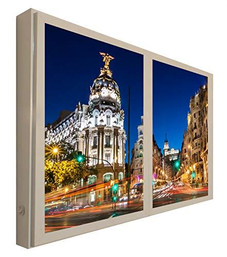 Ccretroiluminados Madrid Gran Via Ventanas Falsas Cuadros Decorativos Iluminada, Madera, Multicolor, 80x60x6.5 cm