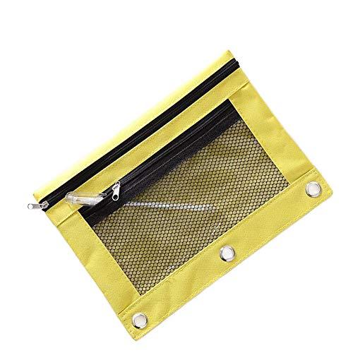 Funny live B5 Size Double Zipper 2 Pocket Pencil Bag, Transparent Mesh File Pouch Case, Zip Binder Pencil Bags Pencil Cases with Rivet Enforced Hole 3 Ring (Yellow)