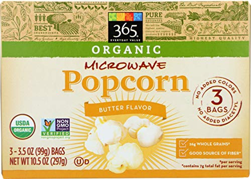 365 Everyday Value, Organic Microwave Popcorn, Butter Flavor, 3.5 oz, 3 pack