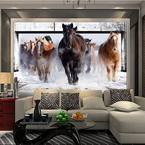 BHXIAOBAOZI behang fotobehang aangepaste muurafbeelding dierlijke serie wallpaper - paard lopend op de sneeuw wooncultuur voor woonkamer bank tv achtergrond slaapkamer muur decoratie (Bh0645) 440cm(W)×270cm(H)