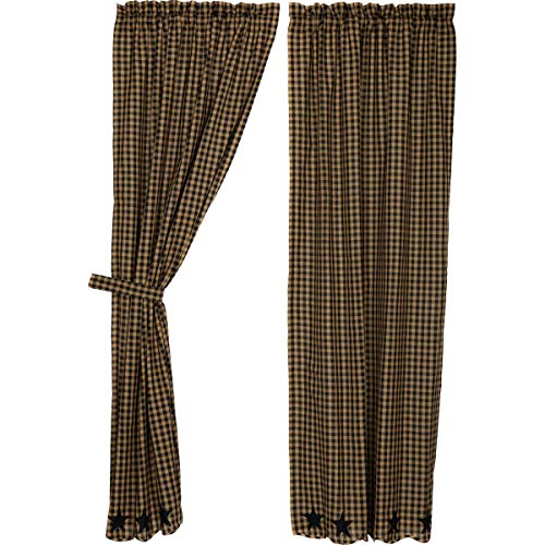 VHC Brands Black Star Scalloped Panel Set of 2 84x40 Country Curtains, Raven Black and Tan