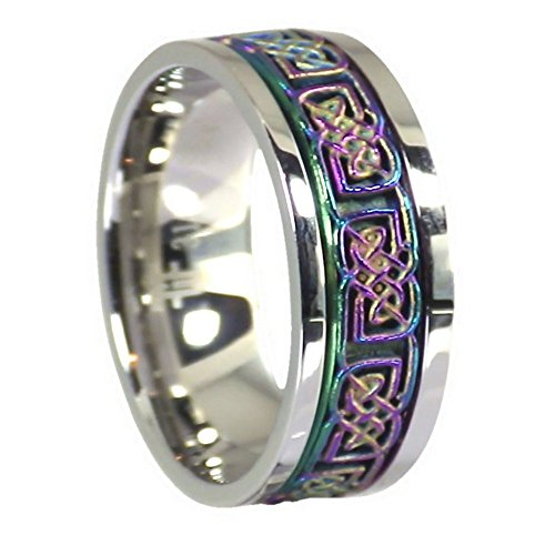 Fantasy Forge Jewelry Rainbow Celtic Spinner Ring Stainless Steel 8mm Comfort Fit Band Size 6.5