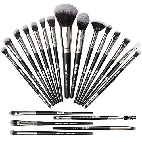 Pinceaux de maquillage 20Pcs Pinceau de maquillage Set Pinceaux de maquillage professionnel Premium Synthetic Foundation Brush Travel Soft Blending Face Powder Blush Eye Makeup Brushes -Black Silver