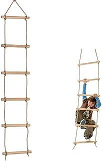 Ysdeal 縄ばしご 屋外 室内 子供の家庭用遊具 はしご 梯子 ラダーロープ 木製 (6段 棒の長さ40CM *直径35MM)