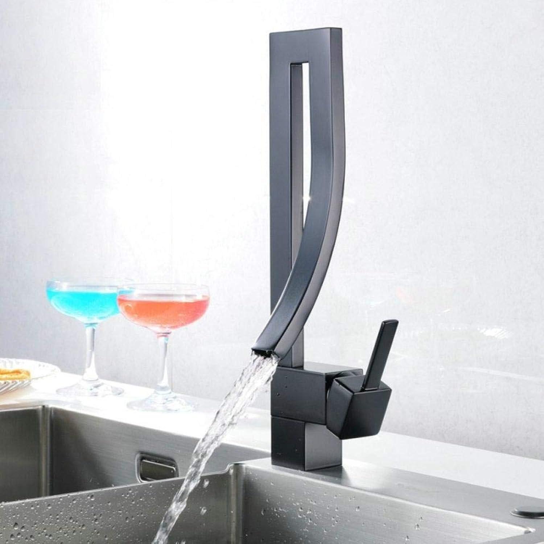 Küchenarmatur New Square Küchenarmatur Deck Montiert Küchenmischer Wasserhahn Schwarz Wasserfall Cold & Hot Waschbecken Wasserhahn