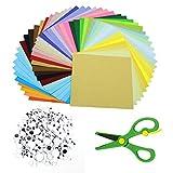 GLAITC Carta per Origami, 100 Fogli di 50 Fogli di Carta Artigianale Fronte-Retro a Colori Vivaci, 200 Pezzi di Occhi oscillanti e Piccole Forbici per Scrapbooking Fai-da-Te Artigianato per Bambini