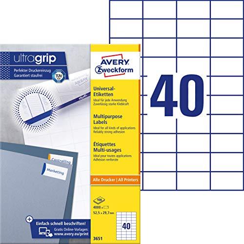 AVERY Zweckform 3651 Universal Etiketten (mit ultragrip, 52,5 x 29,7 mm auf DIN A4, Papier matt, bedruckbar, selbstklebend, 4.000 Klebeetiketten auf 100 Blatt) weiß