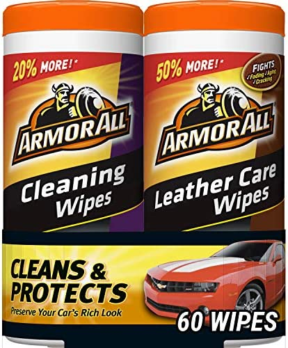 Armor All Car Cleaning and Leather Wipes – Interior Cleaner for Cars & Truck & Motorcycle, 30 Count (Pack of 2), 18781
