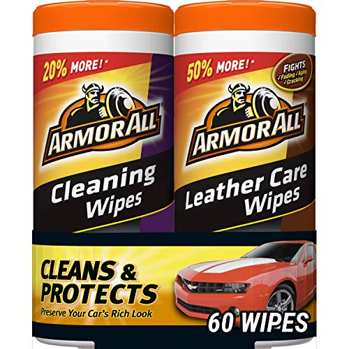 Armor All Car Cleaning and Leather Wipes  Interior Cleaner for Cars amp Truck amp Motorcycle 30 Count Pack of 2 18781