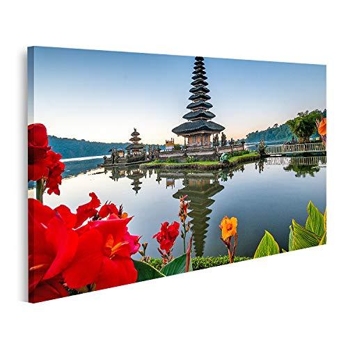 islandburner Cuadro en Lienzo Templo Ulun Danu Bratan Templo Bali Indonesia Jardín de Flores Completas Templo Ulun Danu Bali Indonesia Cuadros Colores Muy llamativa
