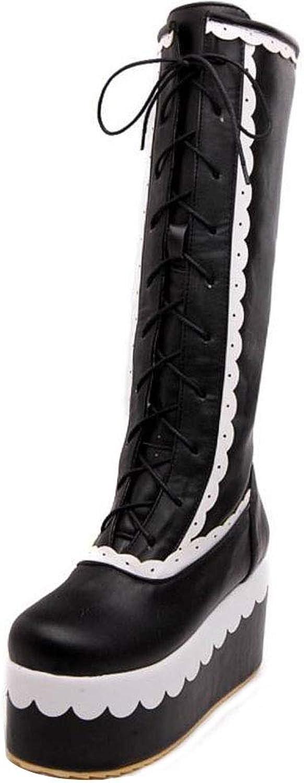 TAOFFEN Women Sweet Platform Long Boots Lace Up