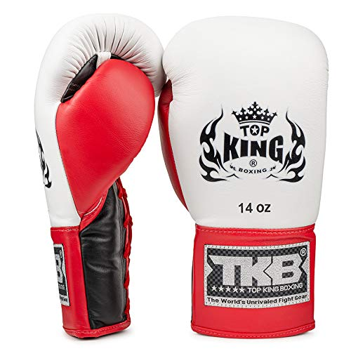 KINGTOP Top King Pro - Guantes de Boxeo con Cordones, Color Negro, Blanco y Rojo