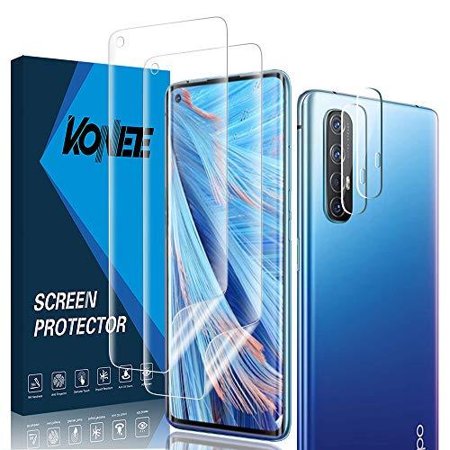 KONEE 【2 + 2 Stück Bildschirmschutzfolie Kompatibel mit Oppo Find X2 Neo + Kamera Panzerglas, [Anti-Kratzen, Fingerabdruck Kompatibel] Flexibler TPU Schutzfolie für Oppo Find X2 Neo